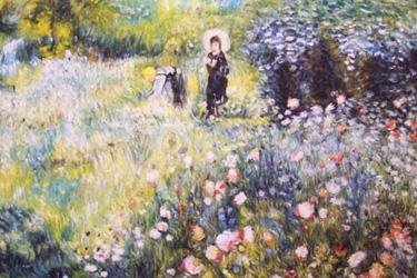 Donna in giardino con ombrello di Renoir
