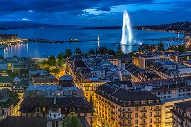 Lago di Ginevra e jet d'eau