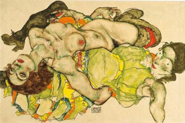 Egon Schiele, Donne recline, 1915